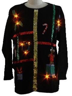 1980's Unisex Sequined Lightup Ugly Christmas Sweater