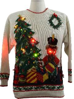 1980's Unisex Devil Bear Lightup Ugly Christmas Sweater