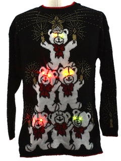 1980's Unisex Lightup Ugly Christmas Sweater, Tall or Oversized Long Fit