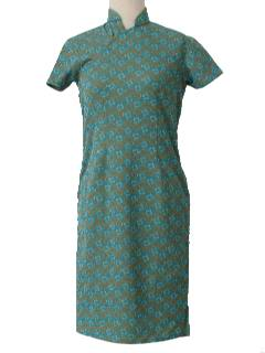 1970's Womens Mod Knit Cheongsam Dress