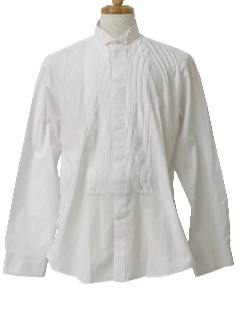 1980's Mens Totally 80s Pleated Tuxedo Shirt