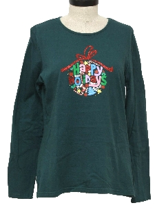 1980's Womens Ugly Christmas T-Shirt to Wear Under Your Sweater Vest