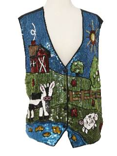 1980's Womens Cheesy Sequined Vest