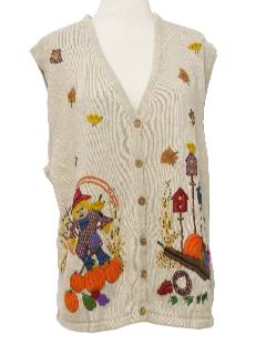 1990's Unisex Cheesy Kitschy Halloween Ugly Sweater Vest