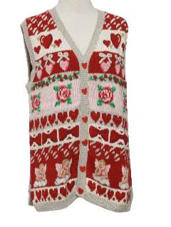 1990's Womens Kitschy Cheesy Ugly Sweater Valentines Day Vest