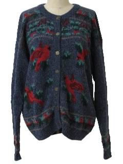 1990's Womens Kistchy Cheesy Ugly Bird Sweater