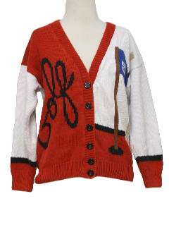 1990's Womens Kitschy Cheesy Ugly Golf Cardigan Sweater