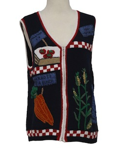 1990's Womens Kistchy Cheesy Farming Ugly Sweater Vest