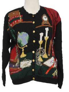 1990's Womens Kitschy Cheesy Ugly Olde Time Library Sweater