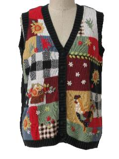 1990's Womens Country Kitsch Cheesy Fall Farm Ugly Sweater Vest