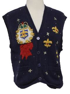 1990's Womens Kistchy Cheesy Ugly Sweater Vest