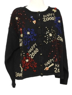 1990's Womens Kitschy Cheesy New Years Eve Ugly Sweater