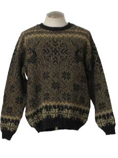 1980's Mens Cosby Style Totally 80s Snowflake Ski Sweater