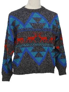 1980's Mens Totally 80s Reindeer Ski Sweater