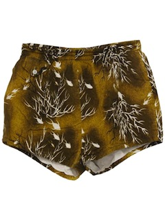 1950's Mens Mod Hawaiian Swim Shorts