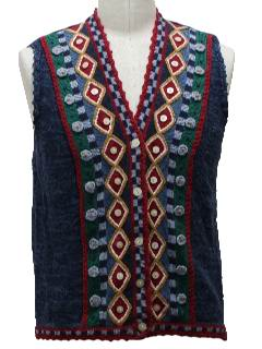 1980's Womens Abstract Ugly Christmas Sweater Vest