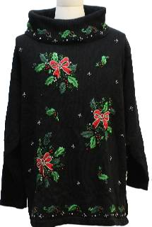 1980's Womens Slouch Fit Ugly Christmas Cocktail Sweater