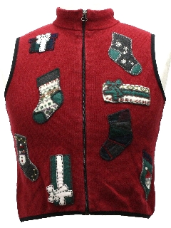 1980's Womens or Girls Ugly Christmas Sweater Vest