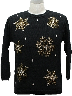 1980's Womens Ugly Christmas Cocktail Snowflake Sweater