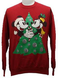 1980's Unisex Mickey Mouse Ugly Christmas Sweatshirt