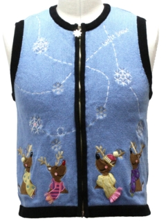 1980's Unisex Petite Ladies, Girls or Boys Bear-riffic Ugly Christmas Sweater Vest