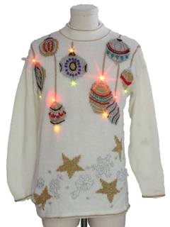 1980's Unisex Vintage Multicolored Lightup Ugly Christmas Sweater