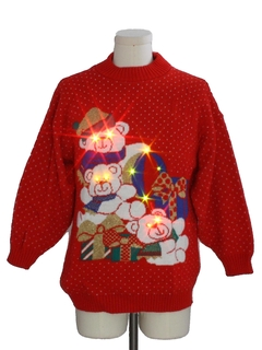 1980's Unisex Vintage Bear-riffic Multicolored Lightup Ugly Christmas Sweater