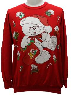 1980's Unisex Bear-riffic Ugly Christmas Sweatshirt