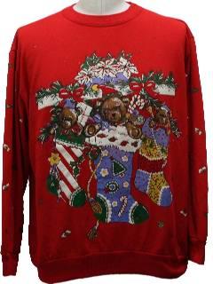 1980's Unisex Vintage Bear-riffic Ugly Christmas Sweatshirt
