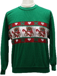 1980's Unisex Bear-riffic Ugly Christmas Sweater-look Sweatshirt
