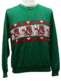 1980's Unisex Vintage Bear-riffic Ugly Christmas Sweater-Look Sweatshirt