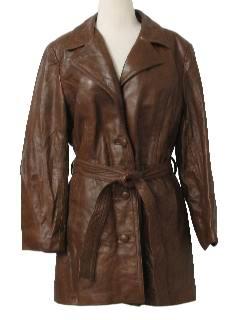 1970s Womens Leather Car Coat Jacket