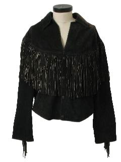 1980's Womens Totally 80s Suede Fringed Leather Jacket