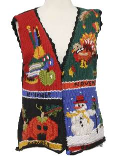 1990's Unisex Kitschy Cheesy Ugly Christmas, Halloween and Thanksgiving Holiday Sweater Vest