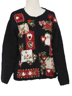 1990's Womens Valentines Day Kitschy Cheesy Ugly Sweater