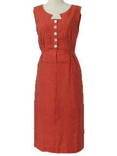 1960's Womens Mod Shantung Wiggle Dress