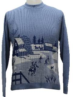1960's Unisex Oldschool Intarsia Knit Ugly Christmas Sweater