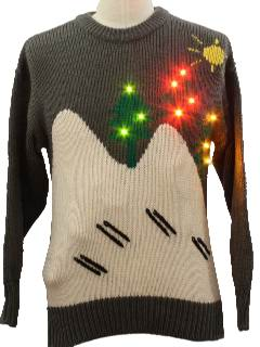 1980's Womens Invisible Skiiers Lightup Ugly Christmas Sweater