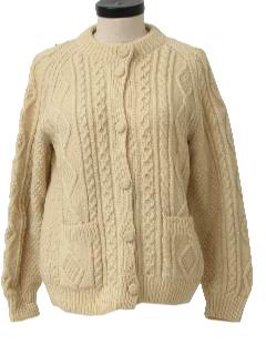 1970's Womens Cable Knit Cardigan Sweater