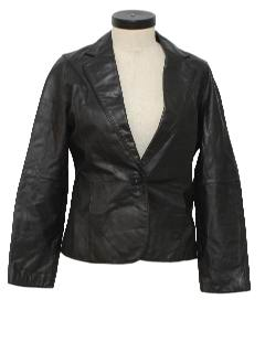 1980's Womens Totally 80s Leather Blazer Jacket