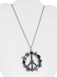 1970's Unisex Peace Medallion Pow-Flower Necklace