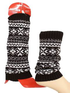 1980's Unisex Accessories - Snowflake Knit Leg Warmers to wear with your Ugly Christmas Sweater