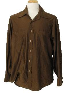 1970's Mens Solid Shiny Nylon Disco Shirt