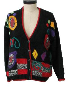 1980's Womens Totally 80s Kitschy Cheesy Ugly Sweater