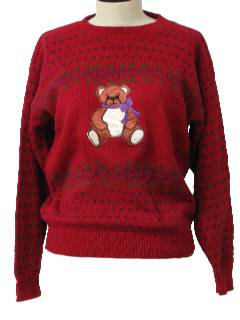 1980's Womens Bear-riffic Totally 80s Sweater
