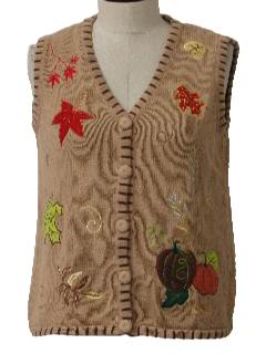 1990's Womens Cheesy Ugly Fall or Halloween Sweater Vest