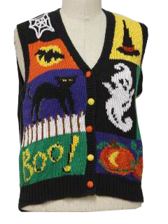1990's Womens Cheesy Ugly Halloween Sweater Vest