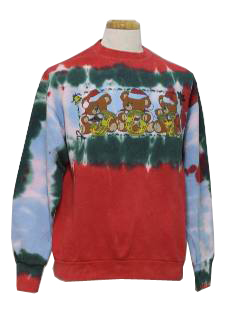 1980's Unisex Bear-Riffic Tie Dyed Ugly Christmas Sweatshirt