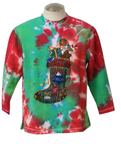 1990's Womens Tie Dyed Ugly Christmas Sweatshirt