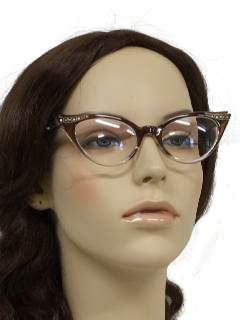 1940's Womens Accessories - Cat Eye Rhinestone Glasses